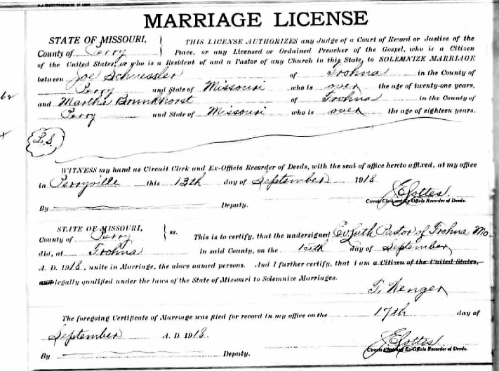 Schuessler Brunkhorst marriage license
