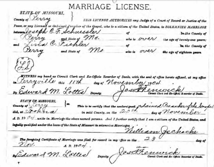 Schuessler Fiehler marriage license