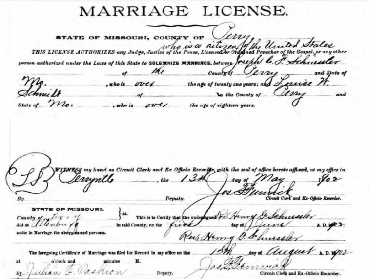Schuessler Schmidt marriage license