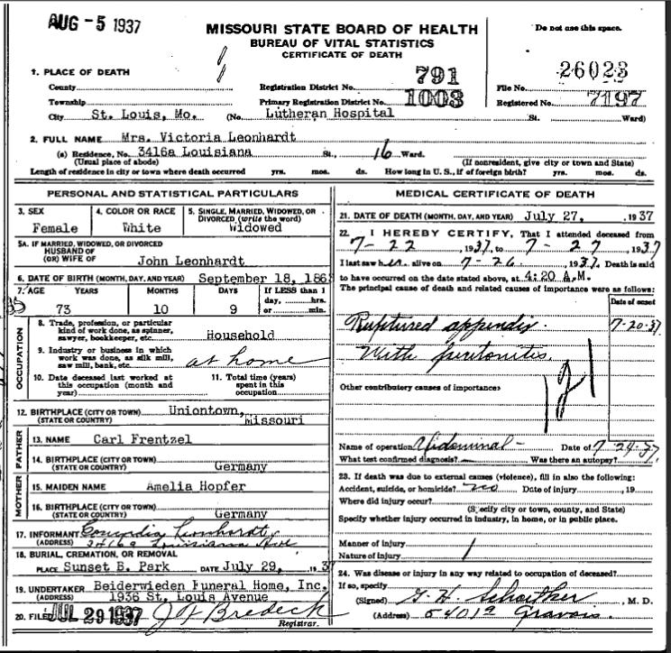 Victoria Leonhardt death certificate