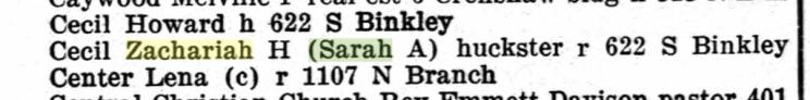 Zachariah Cecil 1926 Sherman TX city directory