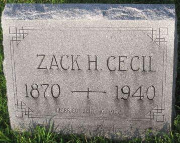 Zack Cecil gravestone West Hill Sherman TX