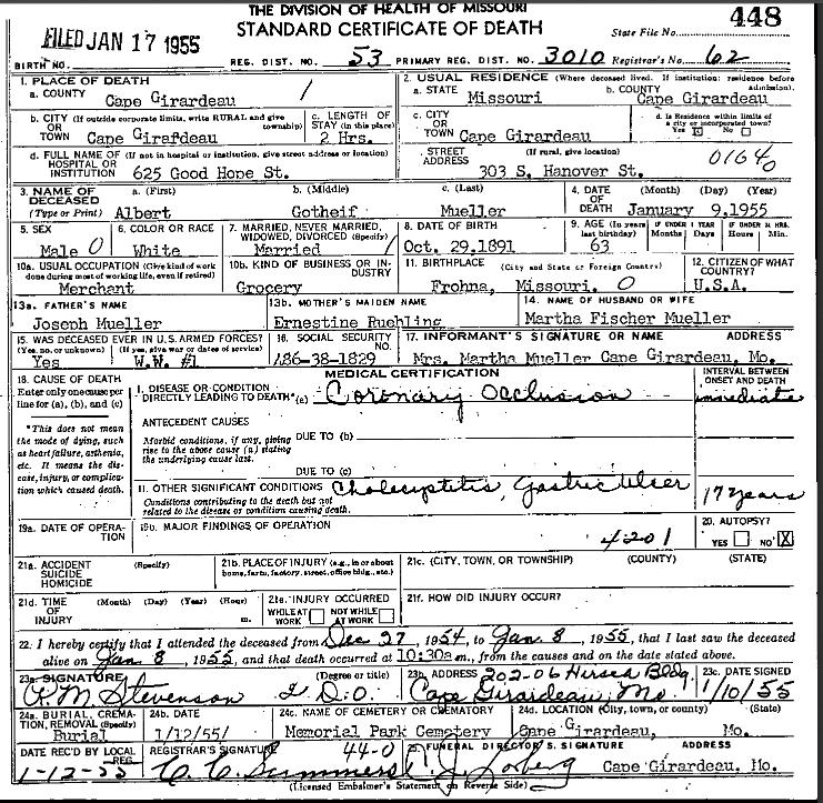 Albert G Mueller death certificate