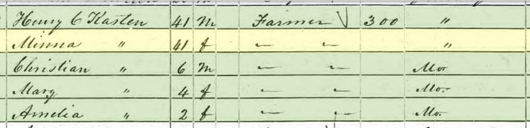 Amelia Hopfer 1850 census Brazeau Township MO
