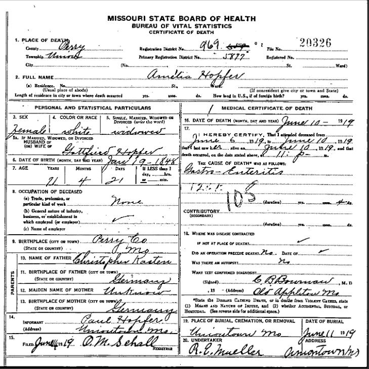Amelia Hopfer death certificate