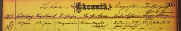 Amelia Hopfer death record Grace Uniontown MO