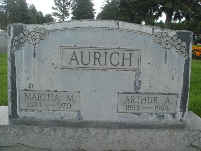 Arthur and Martha Aurich gravestone Greenwood Sydney NE