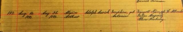 Arthur Aurich baptism record Salem Farrar MO