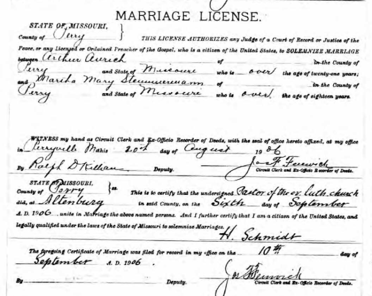 Aurich Stemmermann marriage license