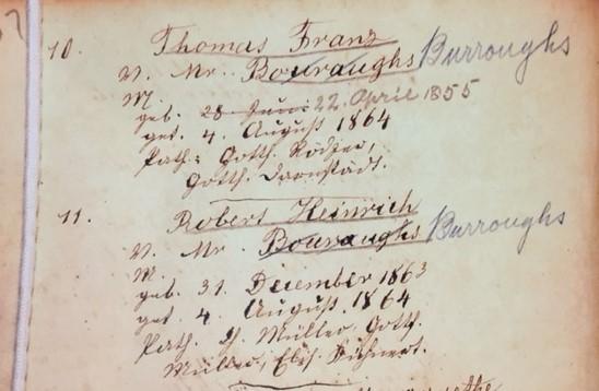 Burroughs brothers baptism record Trinity Altenburg MO