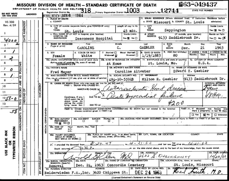 Caroline Gaebler death certificate