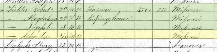Charles Fiehler 1870 census Frohna MO