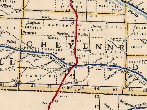 Cheyenne Country 1915 map railroad