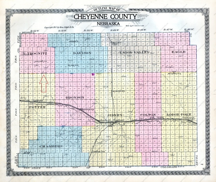 Cheyenne County Map 1913 with arrow