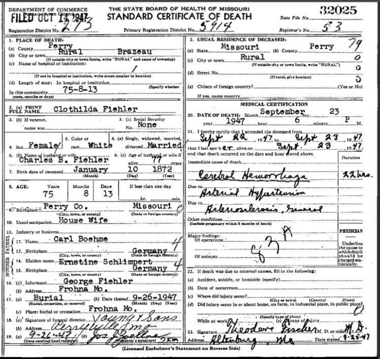 Clothilde Fiehler death certificate