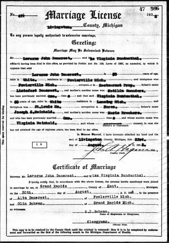 Demerest Bundenthal marriage record MI