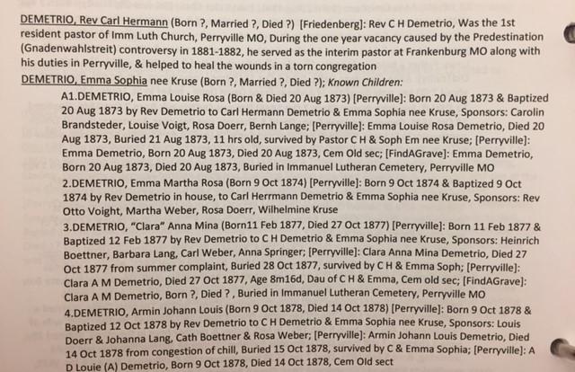 Demetrio records German Family Tree