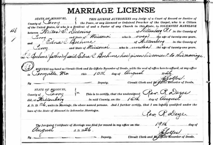 Doering Boehme marriage license