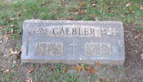 Edward and Caroline Gaebler gravestone Concordia St. Louis