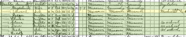 Edward Gaebler 1900 census St. Louis MO