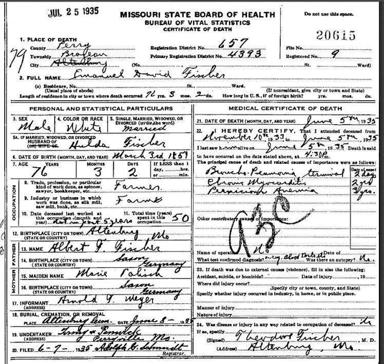 Emmanuel David Fischer death certificate