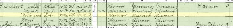 Ferdinand Oehlert 1900 census Brazeau Township MO