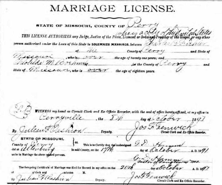 Fiehler Boehme marriage license