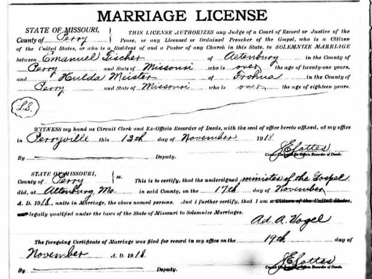 Fischer Meister marriage license