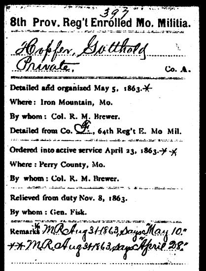 Gotthold Hopfer Civil War record 2