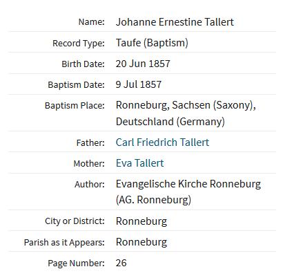 Johanne Ernestine Tallert baptism record Ronneburg Germany