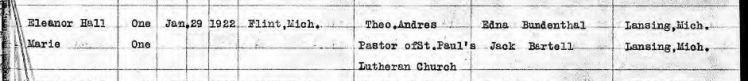 Klock Bundenthal marriage record 2 MI 1922