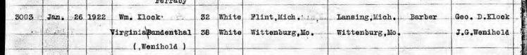 Klock Bundenthal marriage record MI 1922