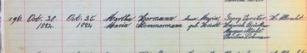 Martha Stemmermann baptism record Salem Farrar MO
