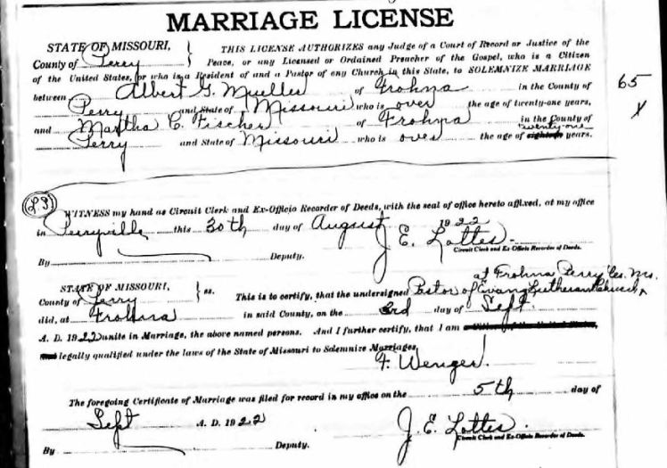 Mueller Fischer marriage license