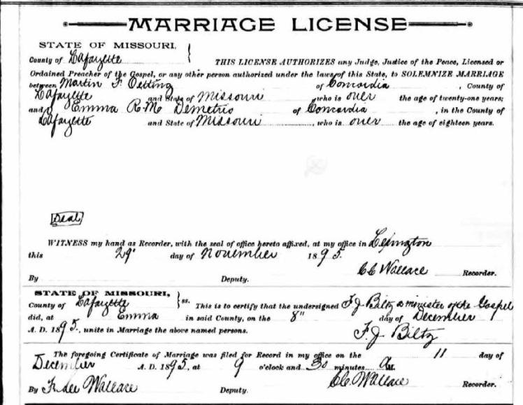 Oetting Demetrio marriage license