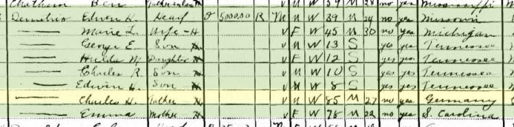 Rev. George Demetrio 1930 census Memphis TN