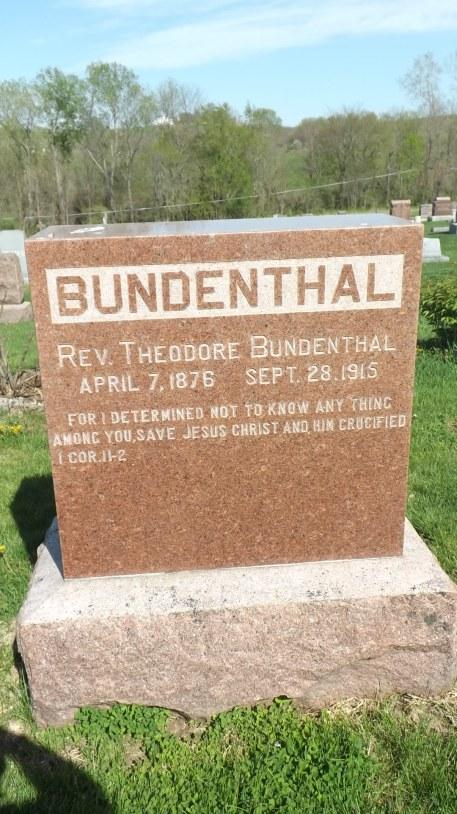 Rev. Theodore Bundenthal gravestone Mount Vernon Atchison KS