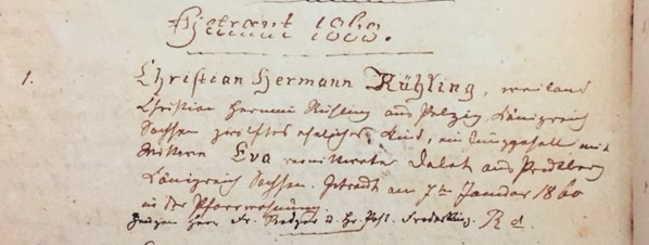 Ruehling Dellert marriage record Trinity Altenburg MO