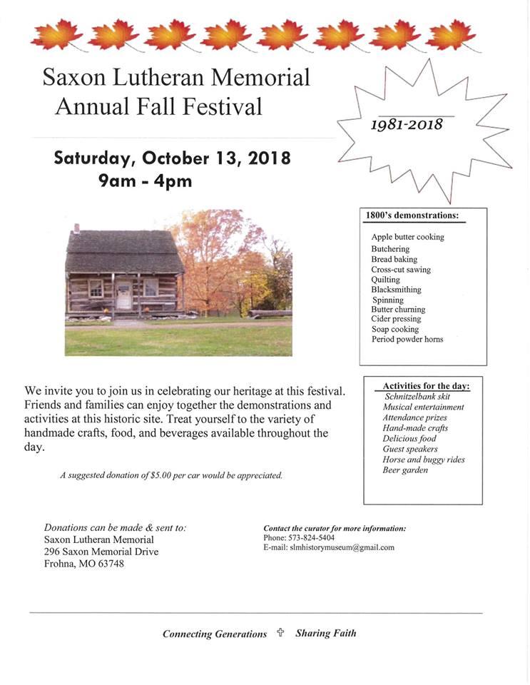 Saxon Lutheran Memorial Fall Festival ad