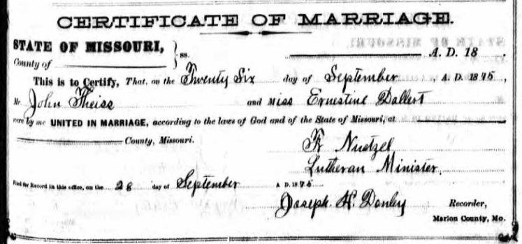 Theiss Dellert marriage record Marion County MO