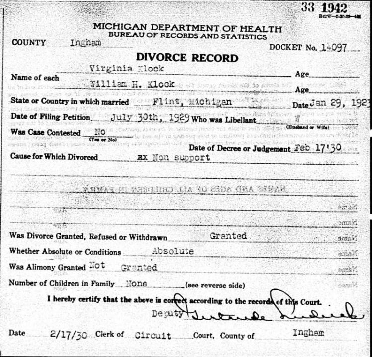 Virginia Bundenthal divorce record MI 1930