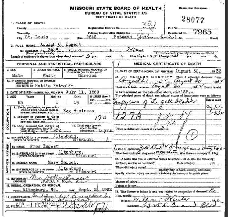 Adolph Engert death certificate