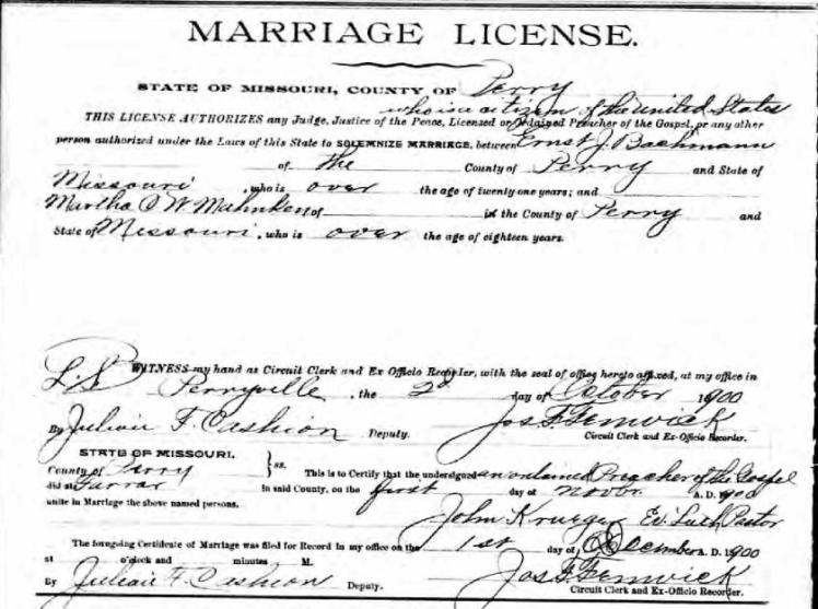 Bachmann Mahnken marriage license