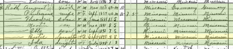 Bertha Roth 1900 census Apple Creek Township MO