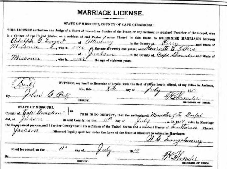 Engert Illers marriage license