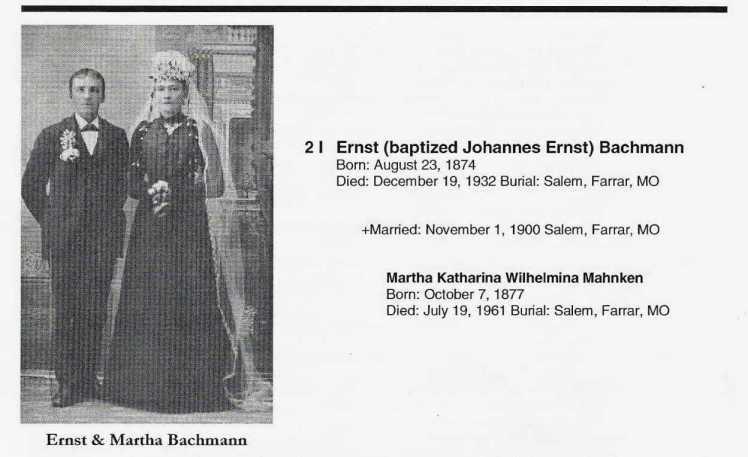 Ernst and Martha Bachmann wedding