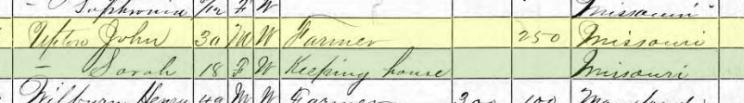 John Upton 1870 census Brazeau Township MO