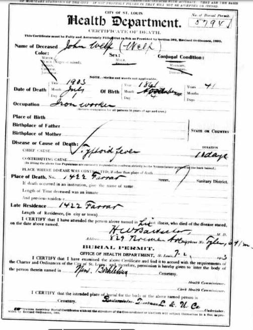 John Welp death record St. Louis 1903