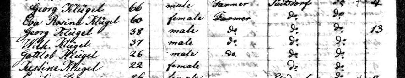 Kluegel family passenger list Copernicus