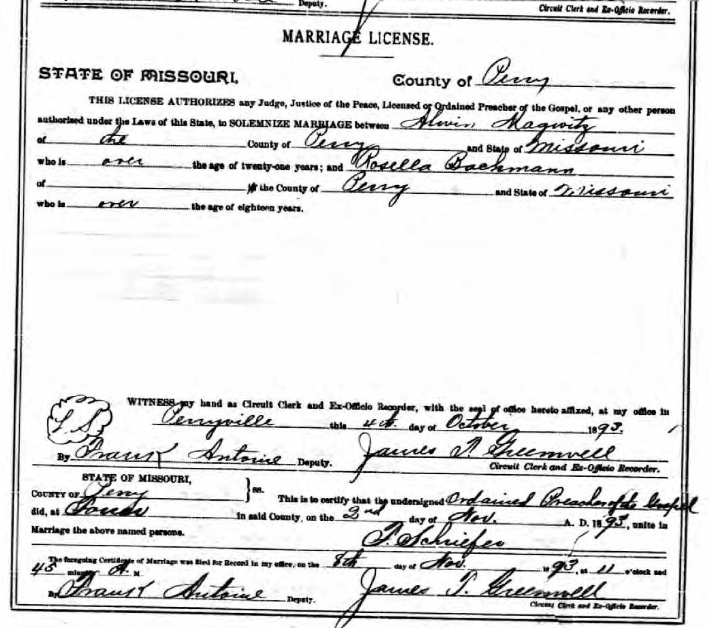 Magwitz Bachmann marriage license